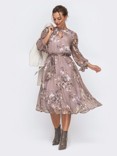 """Шифоновое платье-миди с вырезом """"капля"""" бежевое 50605, фото 1"""