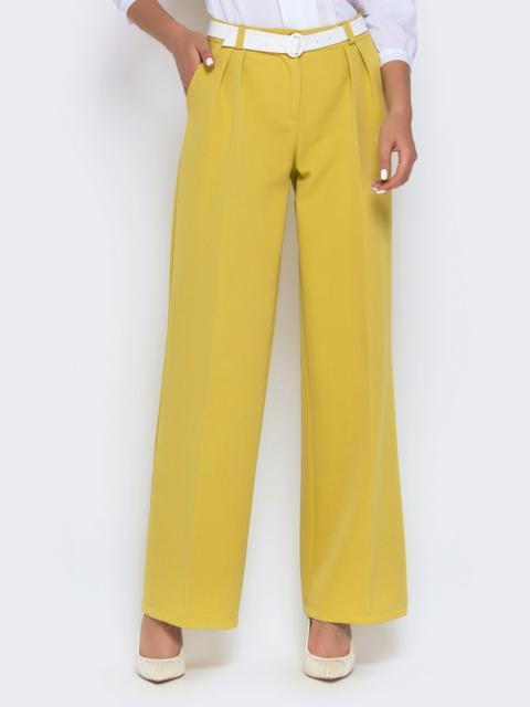 Широкие брюки лимонного цвета с завышенной талией - 40504, фото 1 – интернет-магазин Dressa