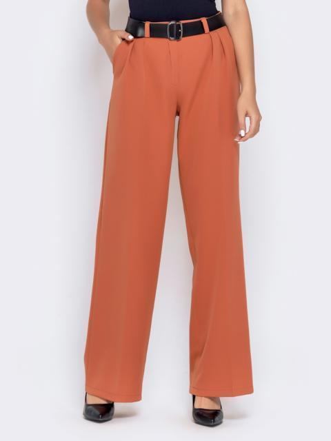 Широкие брюки оранжевого цвета с завышенной талией - 40501, фото 1 – интернет-магазин Dressa