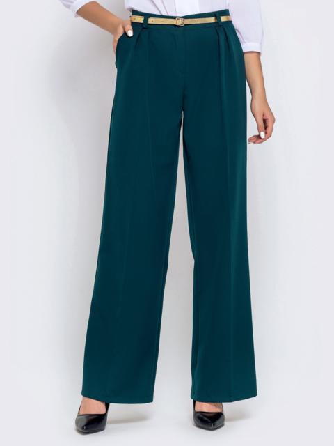 Широкие брюки зеленого цвета с завышенной талией - 40503, фото 1 – интернет-магазин Dressa