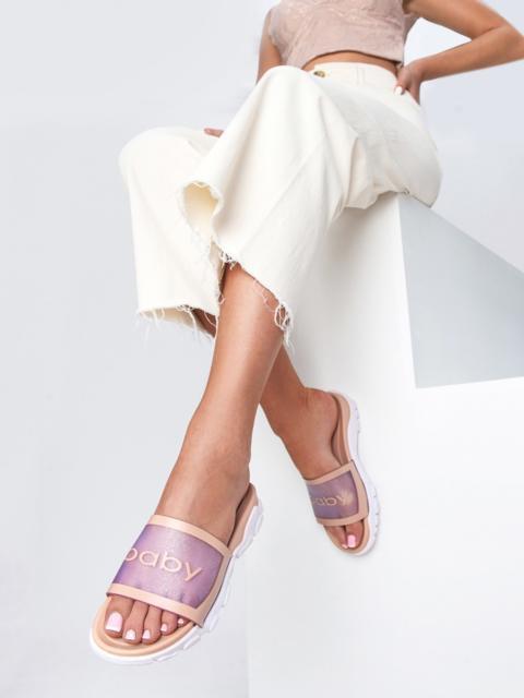 Шлепанцы цвета пудры с белой рельефной подошвой  - 49749, фото 1 – интернет-магазин Dressa