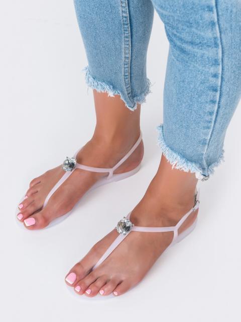 Силиконовые босоножки белого цвета с камнем  - 49750, фото 1 – интернет-магазин Dressa