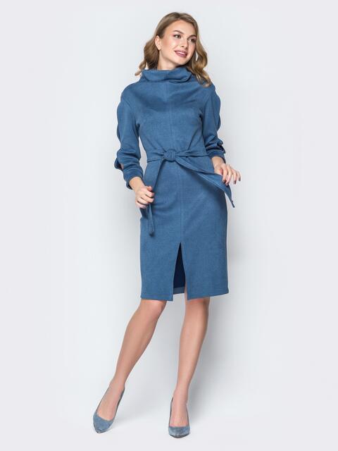 Синее платье с воротником-хомут и разрезами на рукавах 19377, фото 1