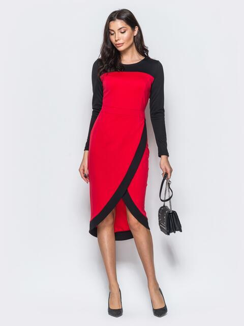 Трикотажное платье с юбкой на ложный запах красное - 17544, фото 1 – интернет-магазин Dressa