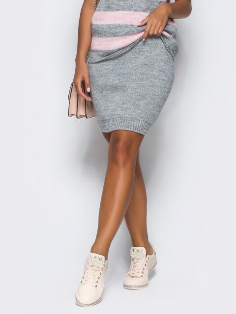 Юбка серого цвета мелкой вязки - 17121, фото 1 – интернет-магазин Dressa