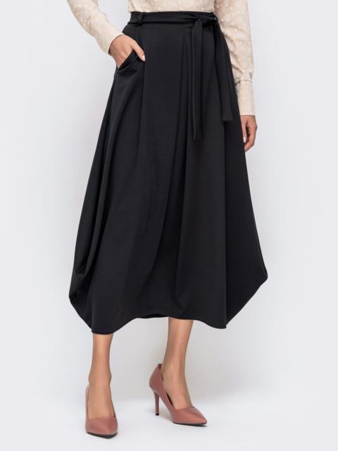 Чёрная юбка-миди зауженная к низу 40388, фото 1