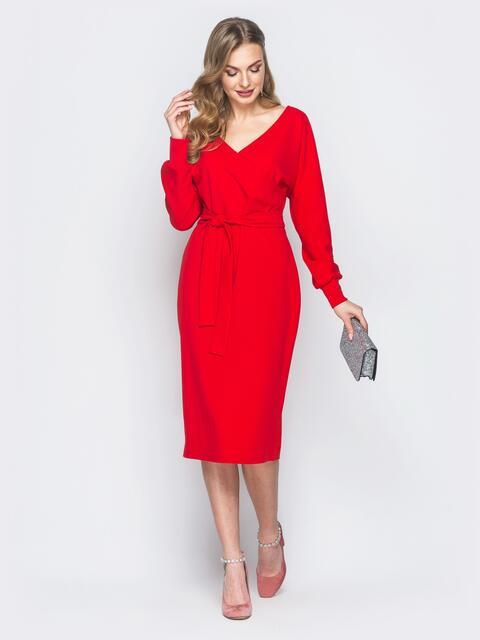 Красное платье с фиксированным запахом и поясом в комплекте - 18760, фото 1  – интернет 6e2ce9e3ea3