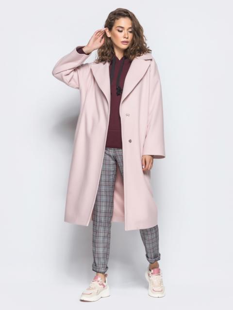 Пальто oversize из шерстяных и акриловых волокон розовое - 16561, фото 1 – интернет-магазин Dressa