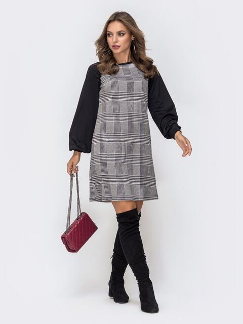 Платье в серую клетку из костюмки с рукавами реглан 40964, фото 1