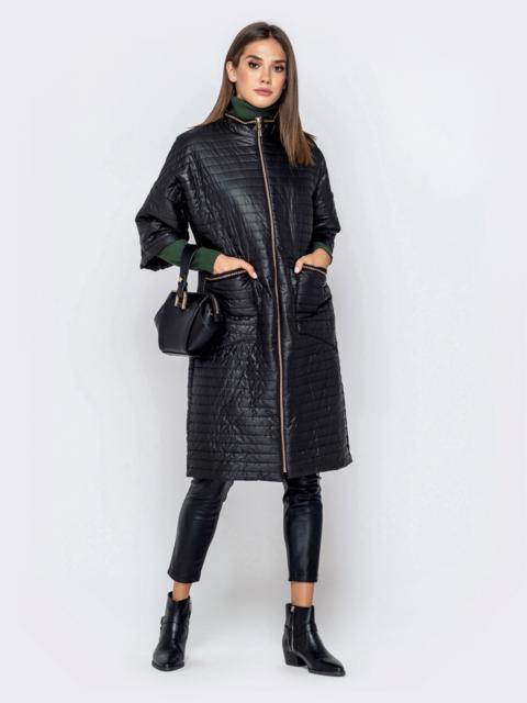 Стёганая куртка с рукавом 3/4 чёрная - 40867, фото 1 – интернет-магазин Dressa