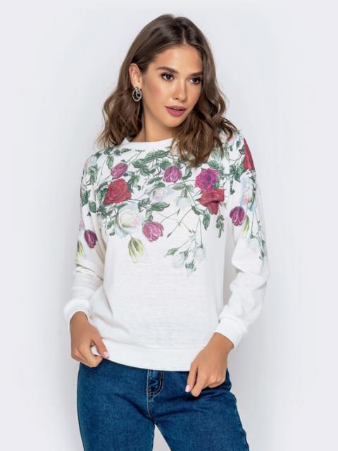 Белый джемпер с цветочным принтом и рукавом-реглан - 40941, фото 1 – интернет-магазин Dressa