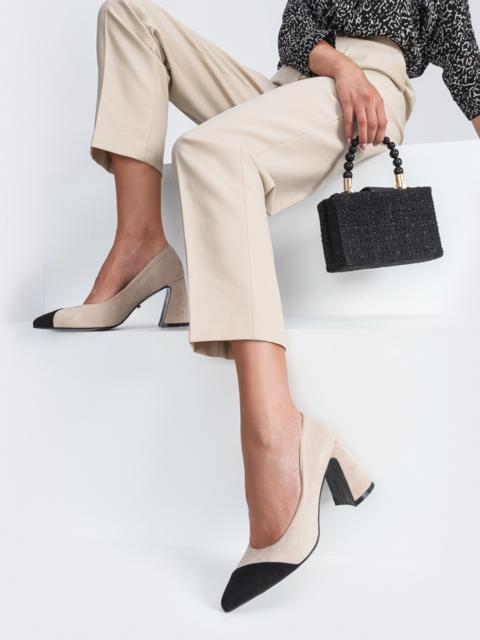 Бежевые туфли из искусственной кожи на каблуке - 45480, фото 1 – интернет-магазин Dressa
