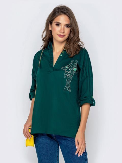 Хлопковая блузка свободного кроя с авторской вышивкой зеленая - 40835, фото 1 – интернет-магазин Dressa