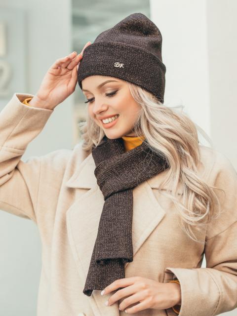 Коричневый комплект из шарфа и шапки с нитью люрекса 50555, фото 1