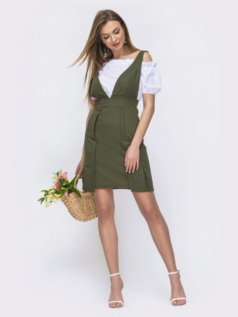 Льняной комплект цвета хаки из сарафана и блузки  46643, фото 1