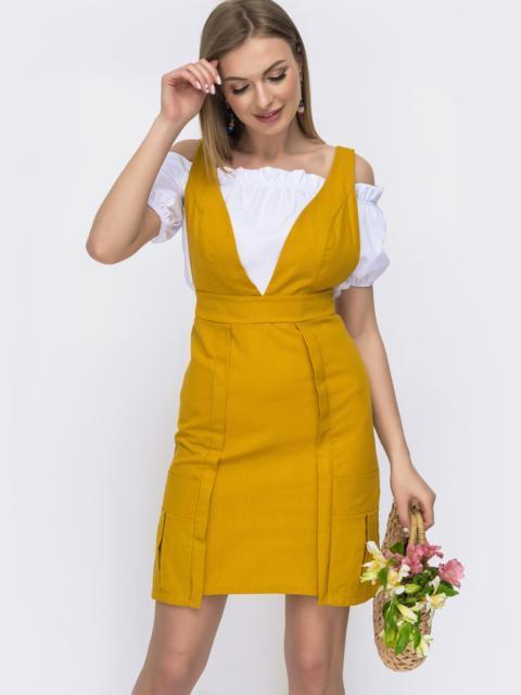 Льняной комплект из сарафана и блузки жёлтый 46642, фото 1