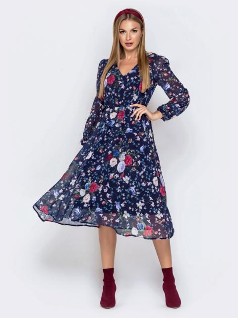 Платье из шифона с цветочным принтом чёрное - 40923, фото 1 – интернет-магазин Dressa