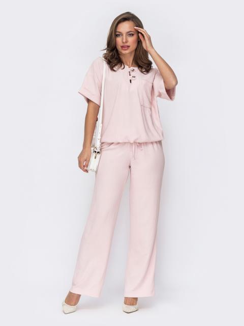 Розовый костюм из блузки и брюк 53561, фото 1
