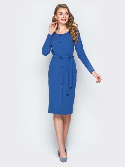 Синее платье-футляр на пуговицах с поясом - 20027, фото 1 – интернет-магазин Dressa