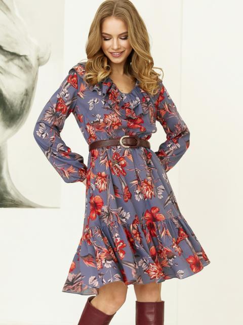 Синее платье с принтом и воланом по низу 52872, фото 1