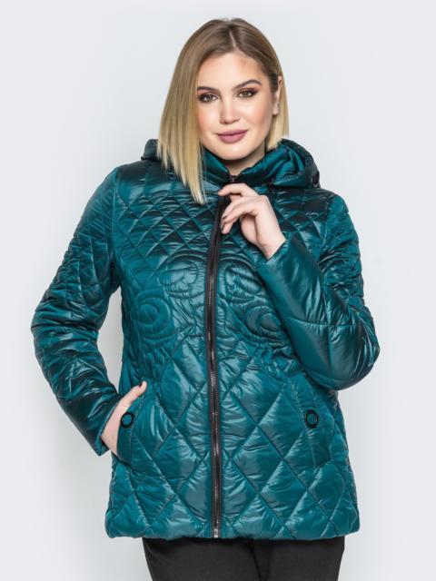 Стеганая куртка с капюшоном и карманами на магнитах бутылка - 20318, фото 1 – интернет-магазин Dressa