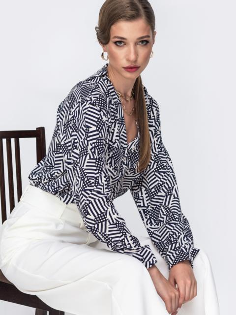 Свободная блузка из софта с геометрическим принтом тёмно-синяя 49519, фото 1