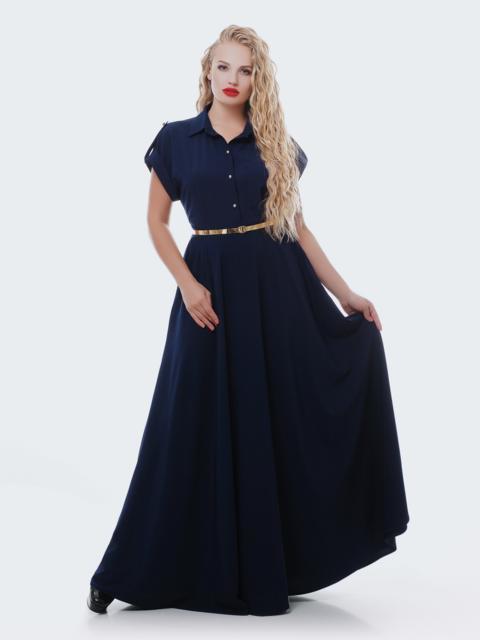 Тёмно-синее платье-макси с юбкой-полусолнце 28443, фото 1