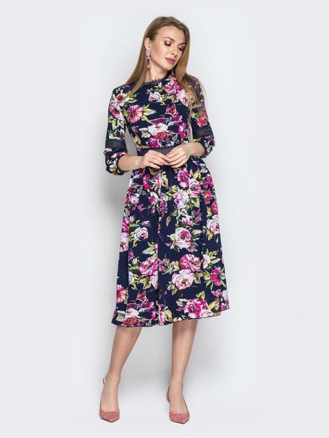 Тёмно-синее платье с цветочным принтом и кружевом - 20360, фото 1 – интернет-магазин Dressa