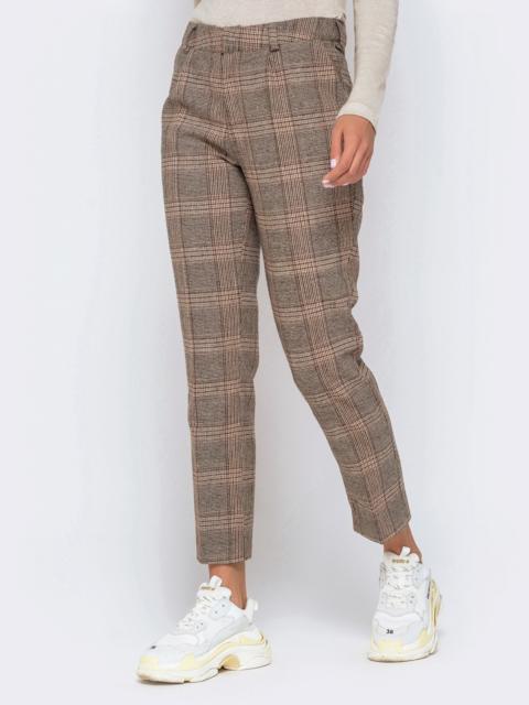 Укороченные брюки в клетку со шлёвками коричневые - 40983, фото 1 – интернет-магазин Dressa
