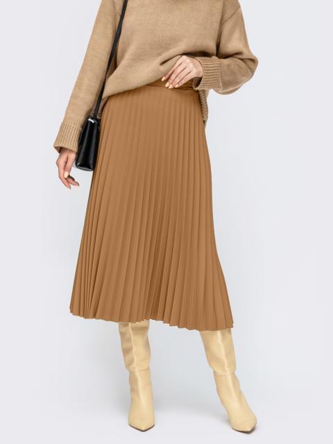 Бежевая юбка-плиссе длины миди 55439, фото 1