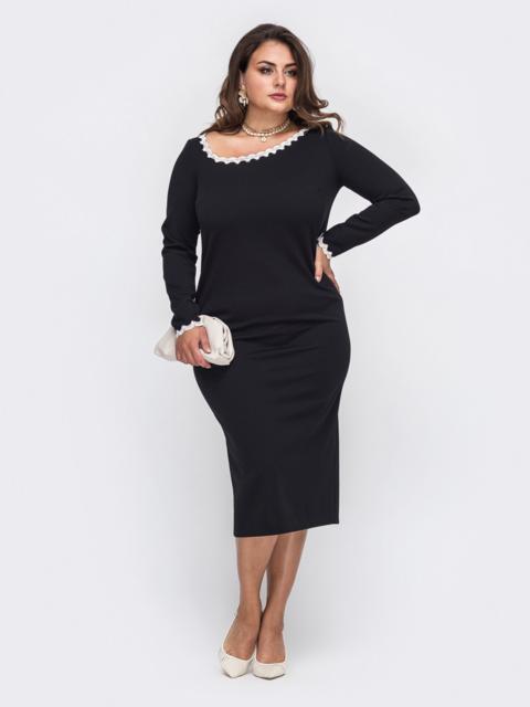 Чёрное платье батал с контрастным бантом по спинке 50699, фото 1