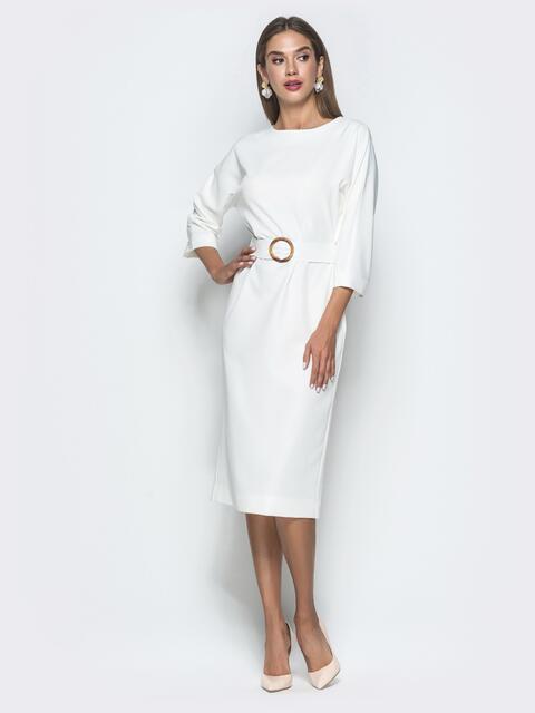 Белое платье-миди с цельнокроеным рукавом - 40111, фото 1 – интернет-магазин Dressa
