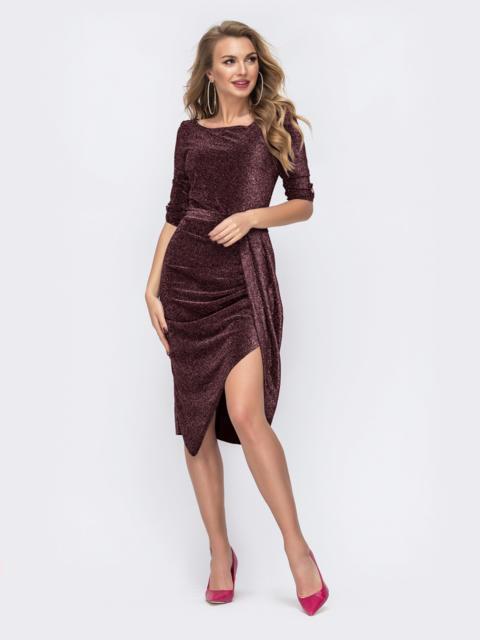 Бордовое платье из люрекса с юбкой-тюльпан 51924, фото 1