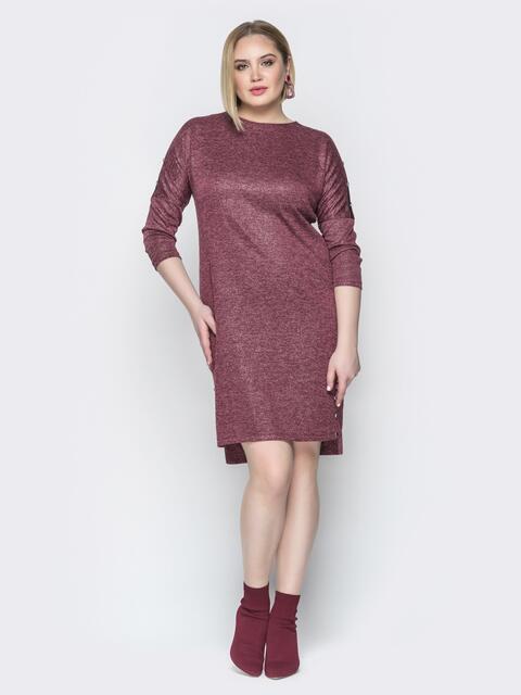 Бордовое платье с люрексом приталенного кроя и пуговицами - 20364, фото 1 – интернет-магазин Dressa