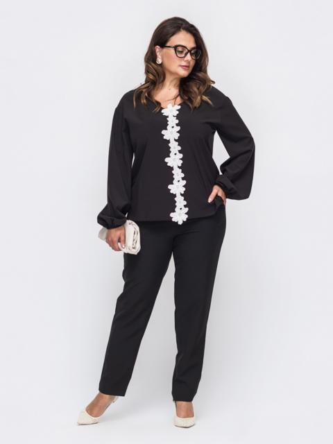 Брючный комплект большого размера со свободной блузкой черный 50700, фото 1