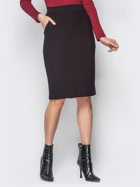 Черная юбка-карандаш в красную полоску с карманами - 18736, фото 1 – интернет-магазин Dressa
