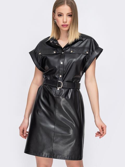 Чёрное платье из искусственной кожи на кнопках 45435, фото 1