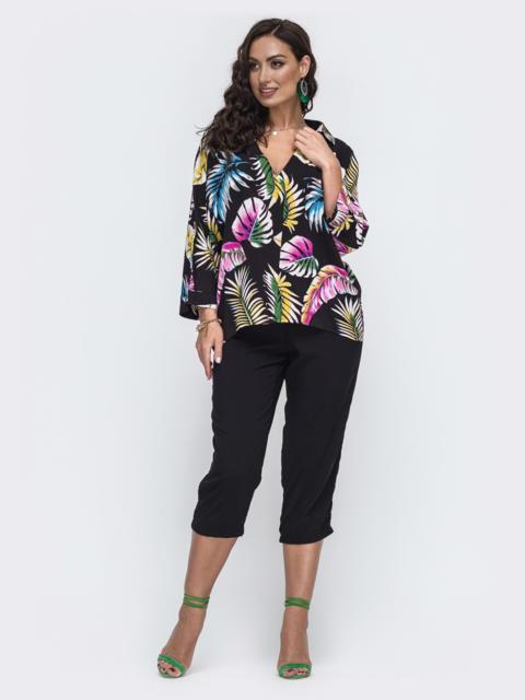 Чёрный комплект большого размера с принтованной блузкой 49937, фото 1