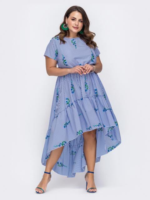 Голубоеплатьебаталвполоскусвышивкой - 49725, фото 1 – интернет-магазин Dressa