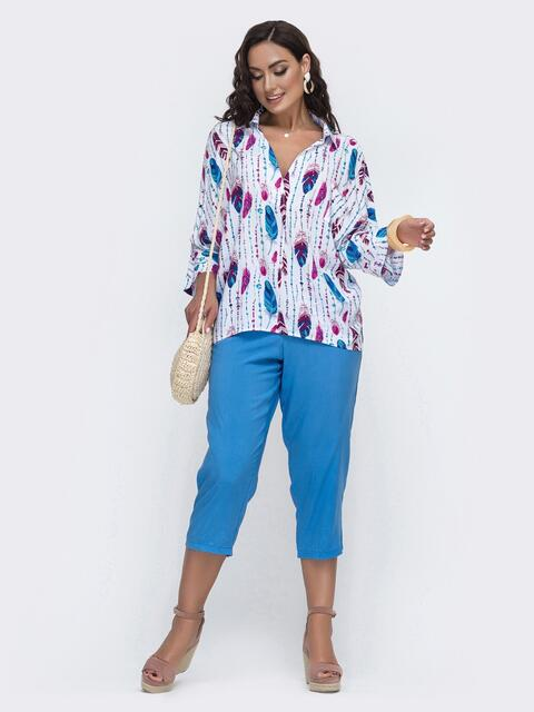 Голубой комплект большого размера с принтованной блузкой 49938, фото 1