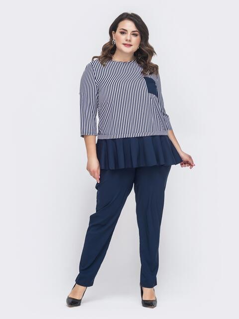Комплект батал из блузки в полоску и брюк тёмно-синий 46312, фото 1
