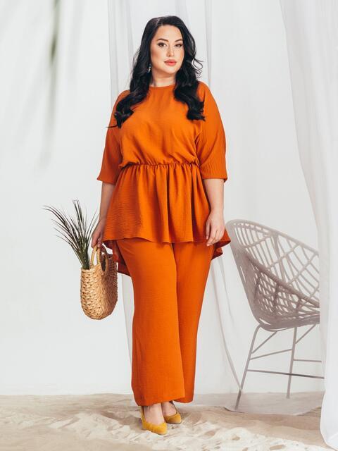 Комплект большого размера с туникой и брюками терракотовый - 46308, фото 1 – интернет-магазин Dressa