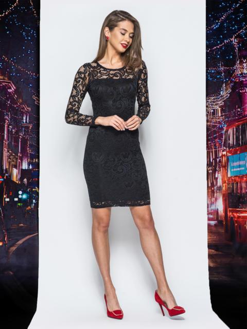 Облегающее платье черного цвета с подкладом - 17860, фото 1 – интернет-магазин Dressa