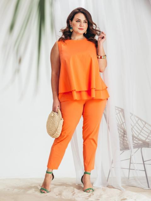 Оранжевый комплект большого размера из блузки и брюк - 46313, фото 1 – интернет-магазин Dressa