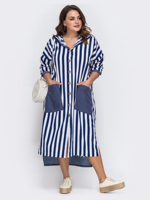 Платьебаталвсинююполоскускарманами - 49724, фото 1 – интернет-магазин Dressa