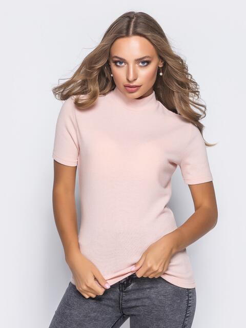 Трикотажный гольф розового цвета с коротким рукавом - 16219, фото 1 – интернет-магазин Dressa