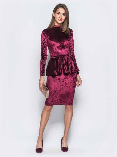 Велюровое платье бордового цвета со съемной баской - 17867, фото 1 – интернет-магазин Dressa