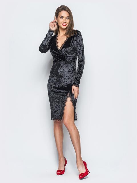 Велюровое платье черного цвета с кружевной отделкой - 17865, фото 1 – интернет-магазин Dressa
