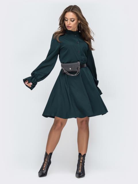 Зеленое платье на пуговицах с резинкой по талии - 44998, фото 1 – интернет-магазин Dressa