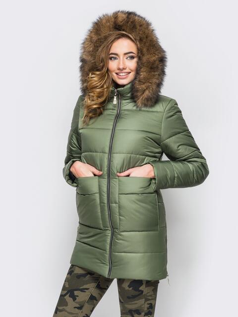 Зимняя куртка цвета хаки с функциональными молниями по бокам 15249, фото 1